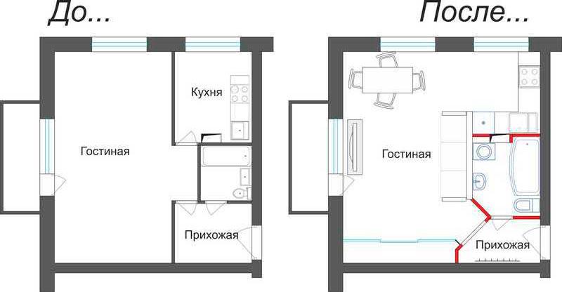 Перепланировка однокомнатной квартиры Брежневка