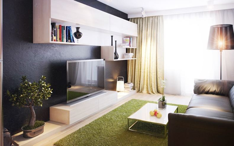 Стиль Модерн в брежневке гостинная