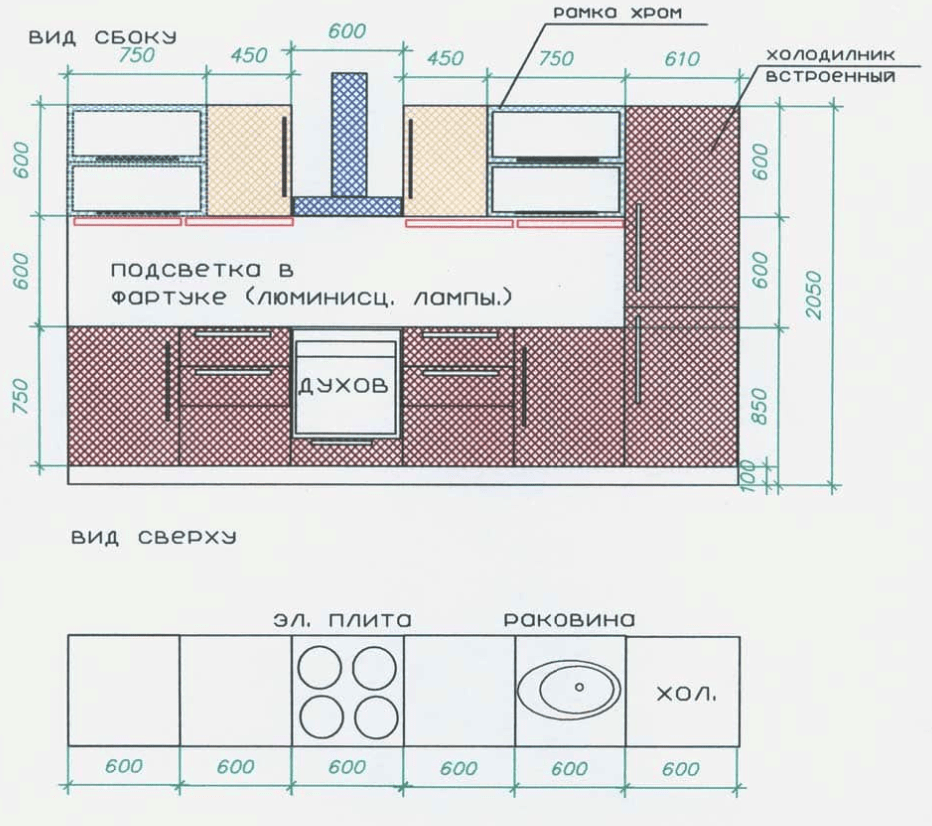 масштабный план кухни до ремонтамасштабный план кухни