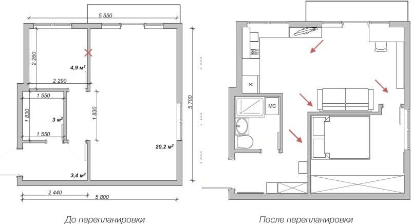 масштабный план кухни до ремонта