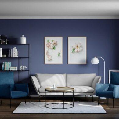 Белые & Голубые стены в гостиной