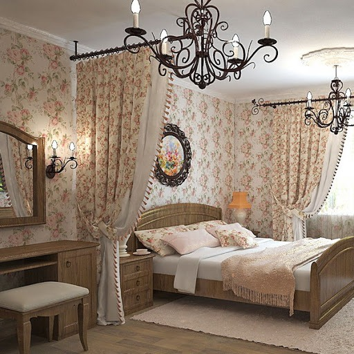 Драпировка стен в спальне