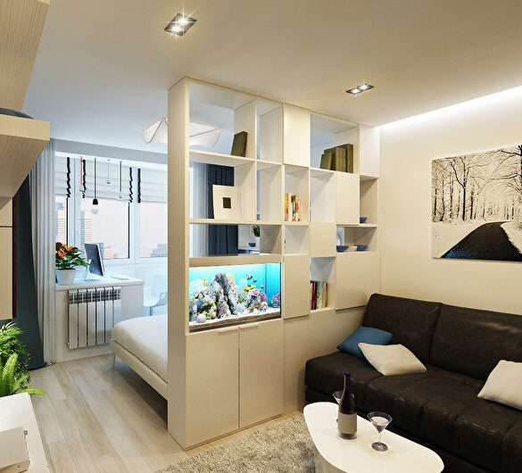 Спальня и гостиная в одной комнате