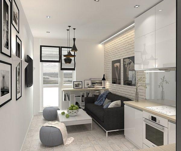 Кухня гостиная в маленькой квартире