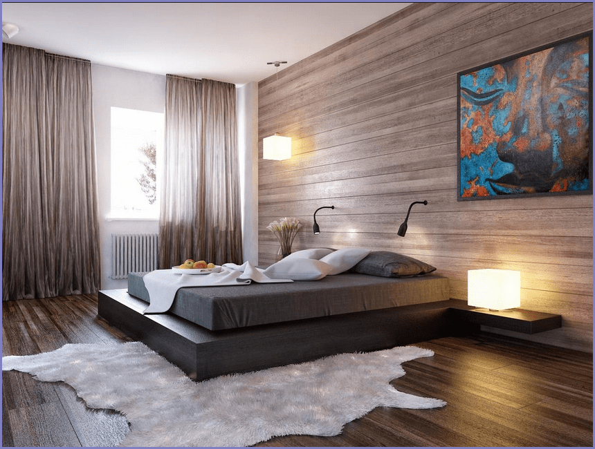 Правильное освещение в спальне. Шторы на окне