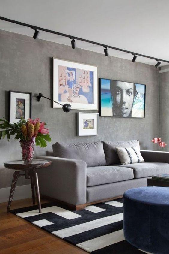 Типы освещения: Трек-система и бра для точечного освещения в гостиной