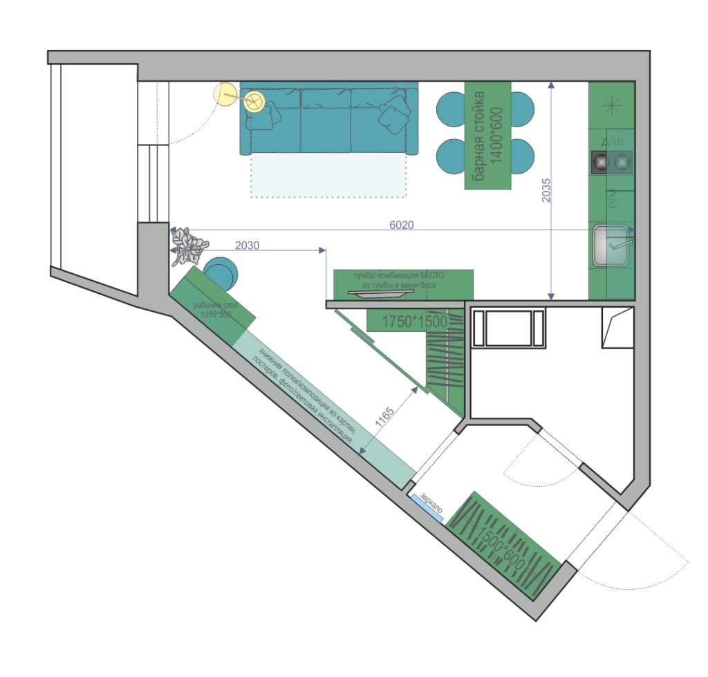 Пятиугольная студия планировка